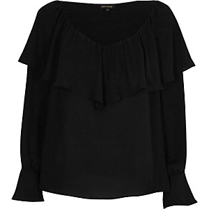 Black deep frill trumpet sleeve top