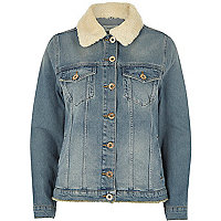 Mid blue fleece trim denim jacket
