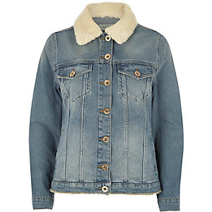 Mid blue sheepskin trim denim jacket