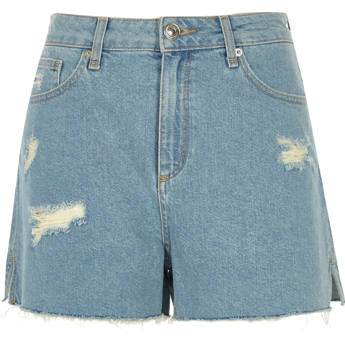 Light blue raw hem distressed shorts