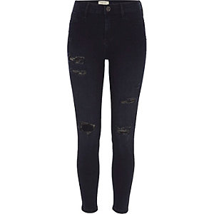 Blue black ripped skinny fit Molly jeans