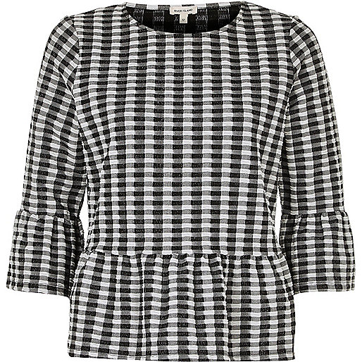 Black and white gingham frill top