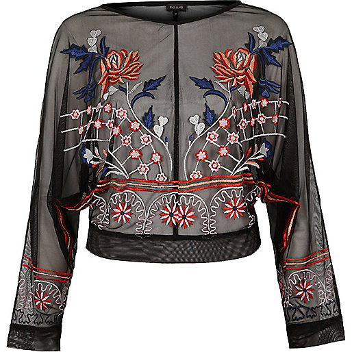 Black mesh floral embroidered batwing top