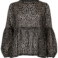 Black and white lace tiered smock top