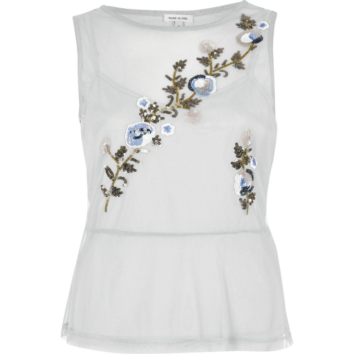 Grey mesh floral sequin smock top