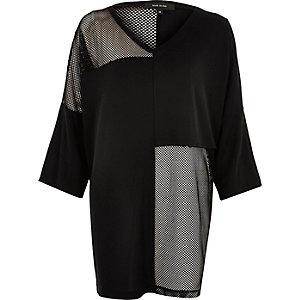 Black oversized mesh T-shirt