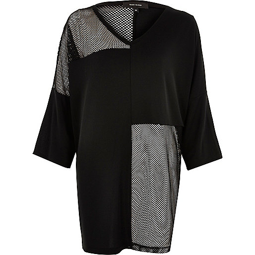 Black oversized mesh T-shirt