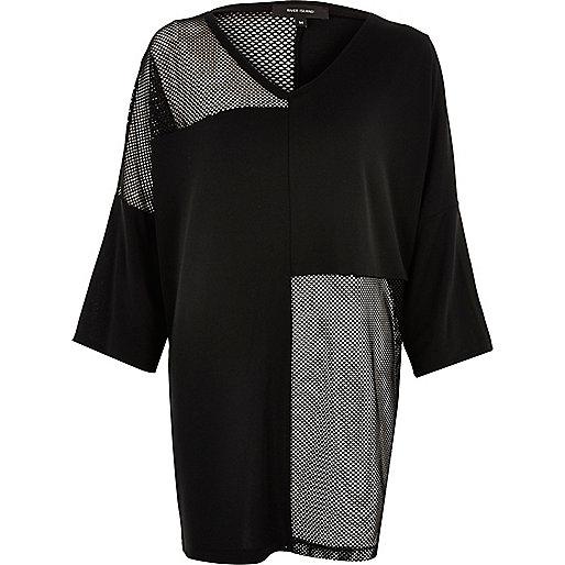 T-shirt oversize noir en tulle