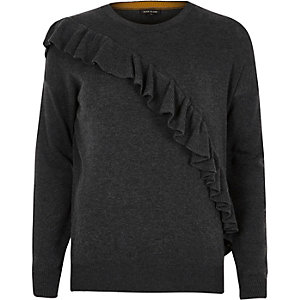 Dark grey asymmetric frill sweater