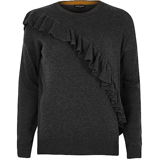 Dark grey asymmetric frill jumper