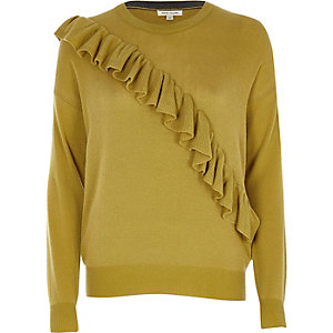 Mustard yellow frill sweater