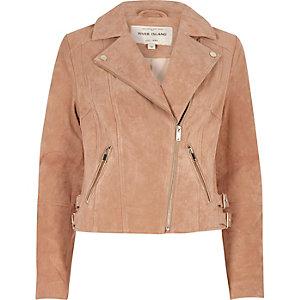 Blush pink suede biker jacket