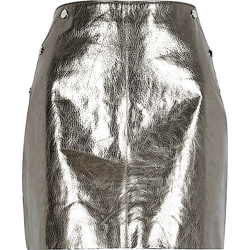 Silver metallic leather mini skirt