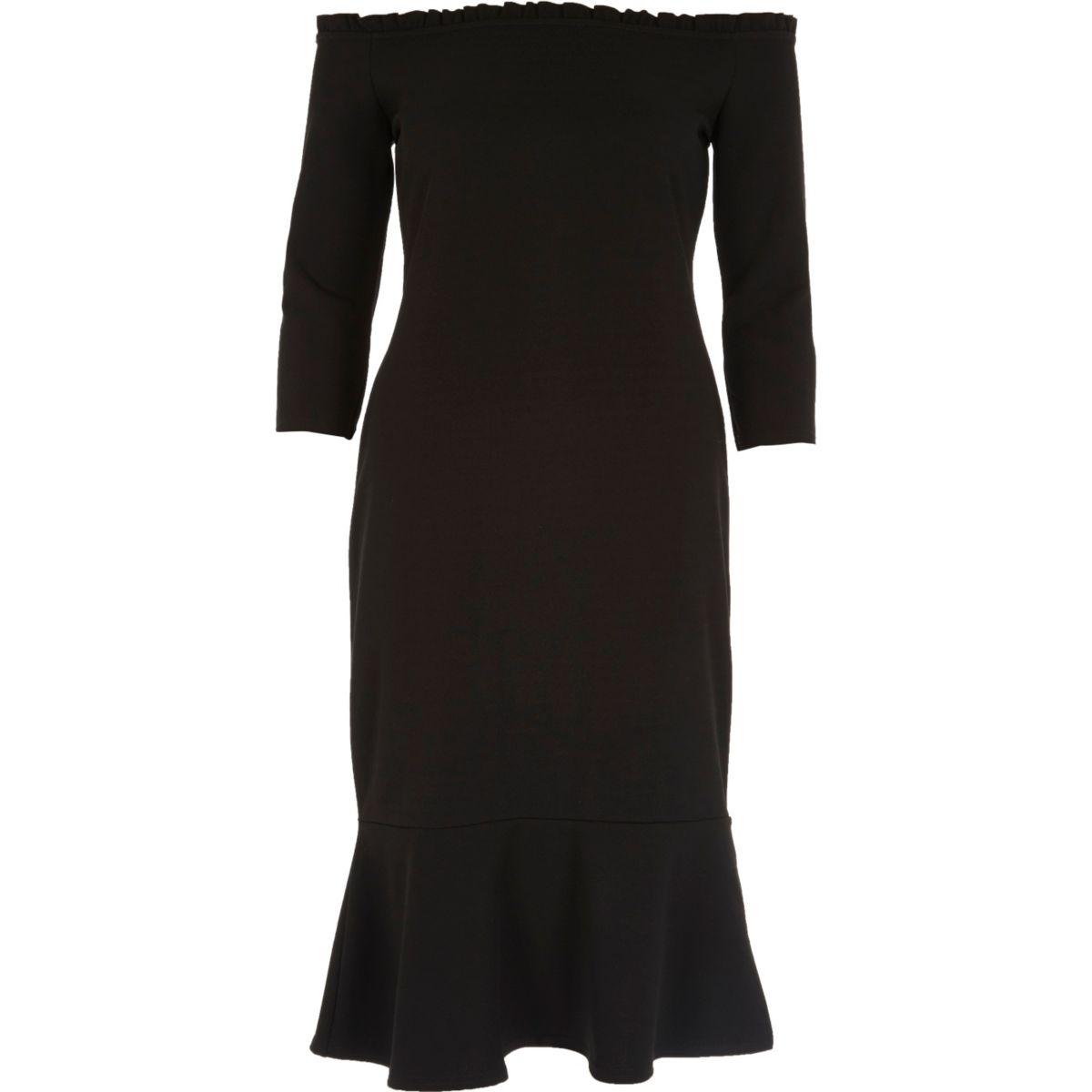 Black frill hem bardot bodycon dress
