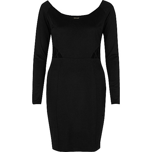 Black lattice side bodycon dress
