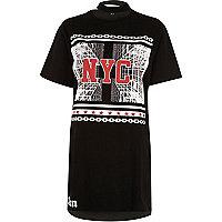 T-shirt oversize imprimé noir à col ras-de-cou