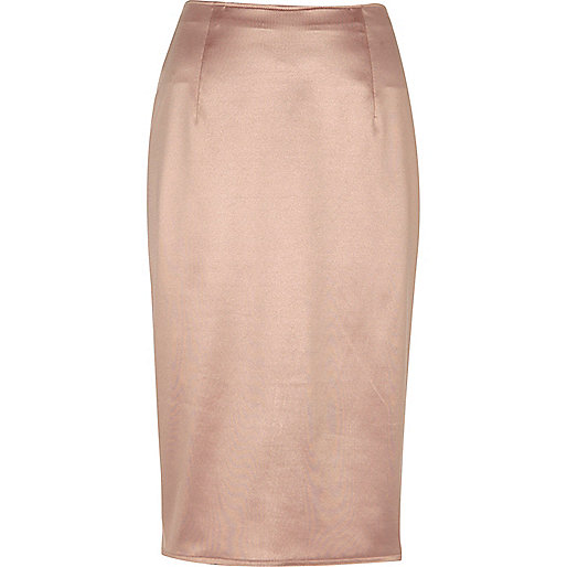 Blush pink soft pencil skirt