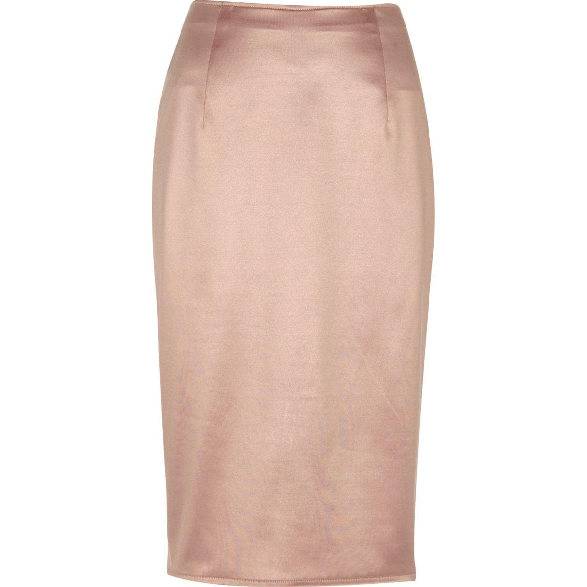 Blush pink soft pencil skirt