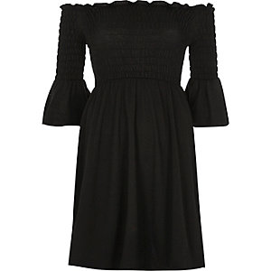 Black ruched flute sleeve bardot dress