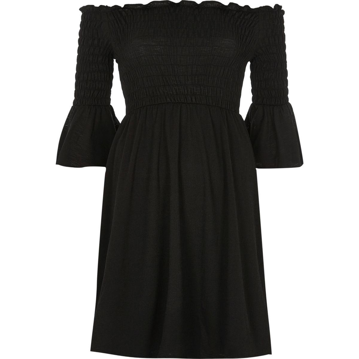Black ruched flute sleeve bardot dress