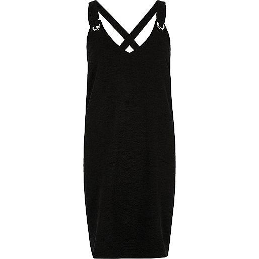 Black eyelet cross back cami slip dress