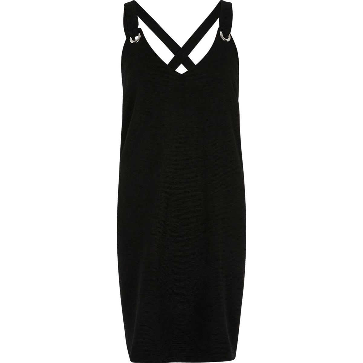 Black eyelet cross back cami slip dress