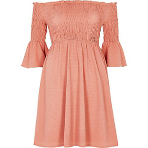 Pink ruched bardot dress