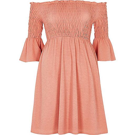 Pink ruched bardot dress