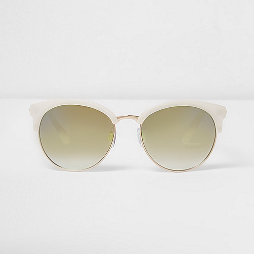 White half frame green sunglasses
