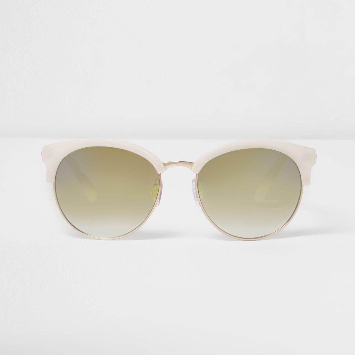 White half frame green sunglasses