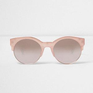 Lunettes de soleil à demi-monture rose