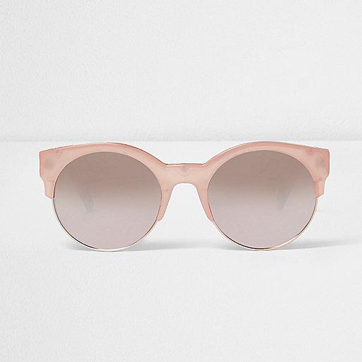 Pink half frame sunglasses