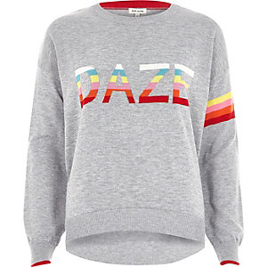 Grey knit multi colour 'daze' jumper