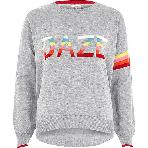 Grey knit multi color 'daze' sweater