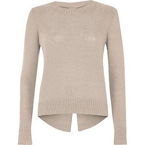 Nude metallic knit split back sweater