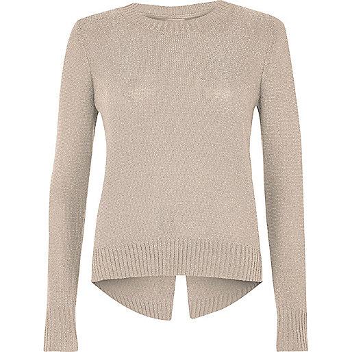 Nude metallic knit split back sweater