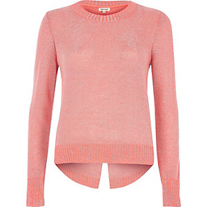 Coral pink metallic knit split back jumper