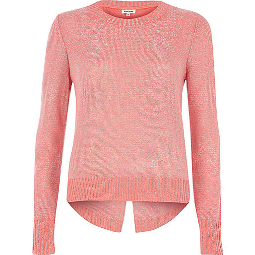 Coral pink metallic knit split back sweater