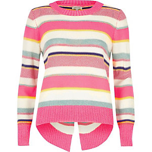 Pink metallic stripe knit split back sweater