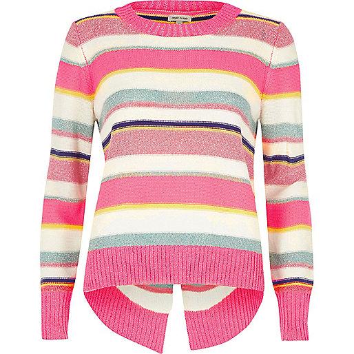 Pink metallic stripe knit split back jumper