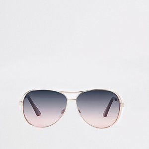 Gold purple fade aviator sunglasses