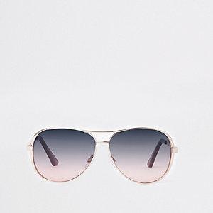 Goudkleurige pilotenzonnebril met paarse glazen