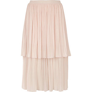 Light pink layered pleated midi skirt