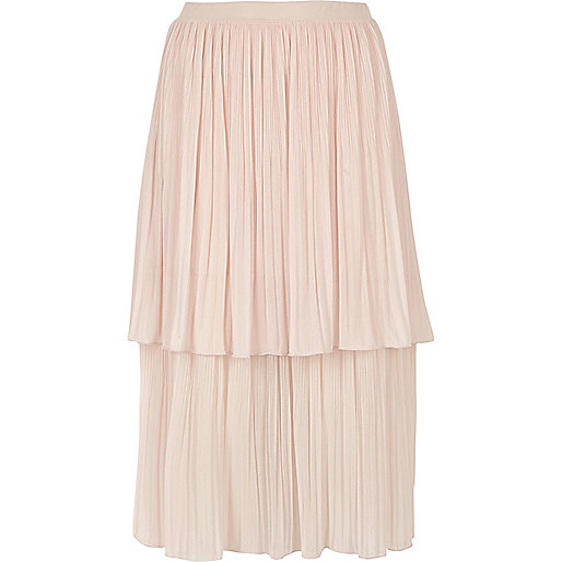 Light pink layered pleated midi skirt