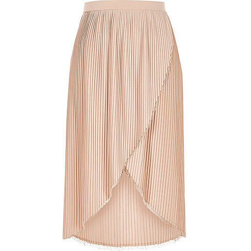 Nude pleated wrap front midi skirt