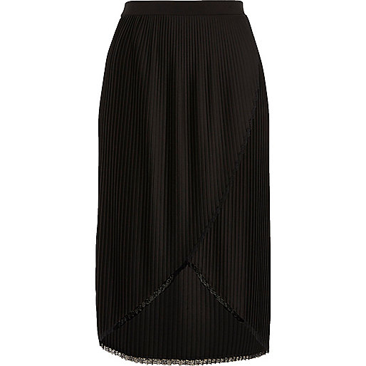 Black wrap front pleated midi skirt