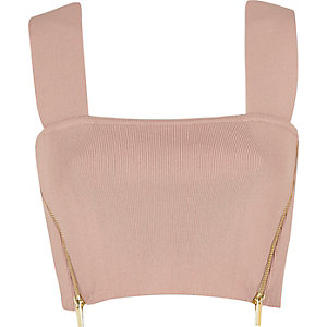 Light pink side zip crop top