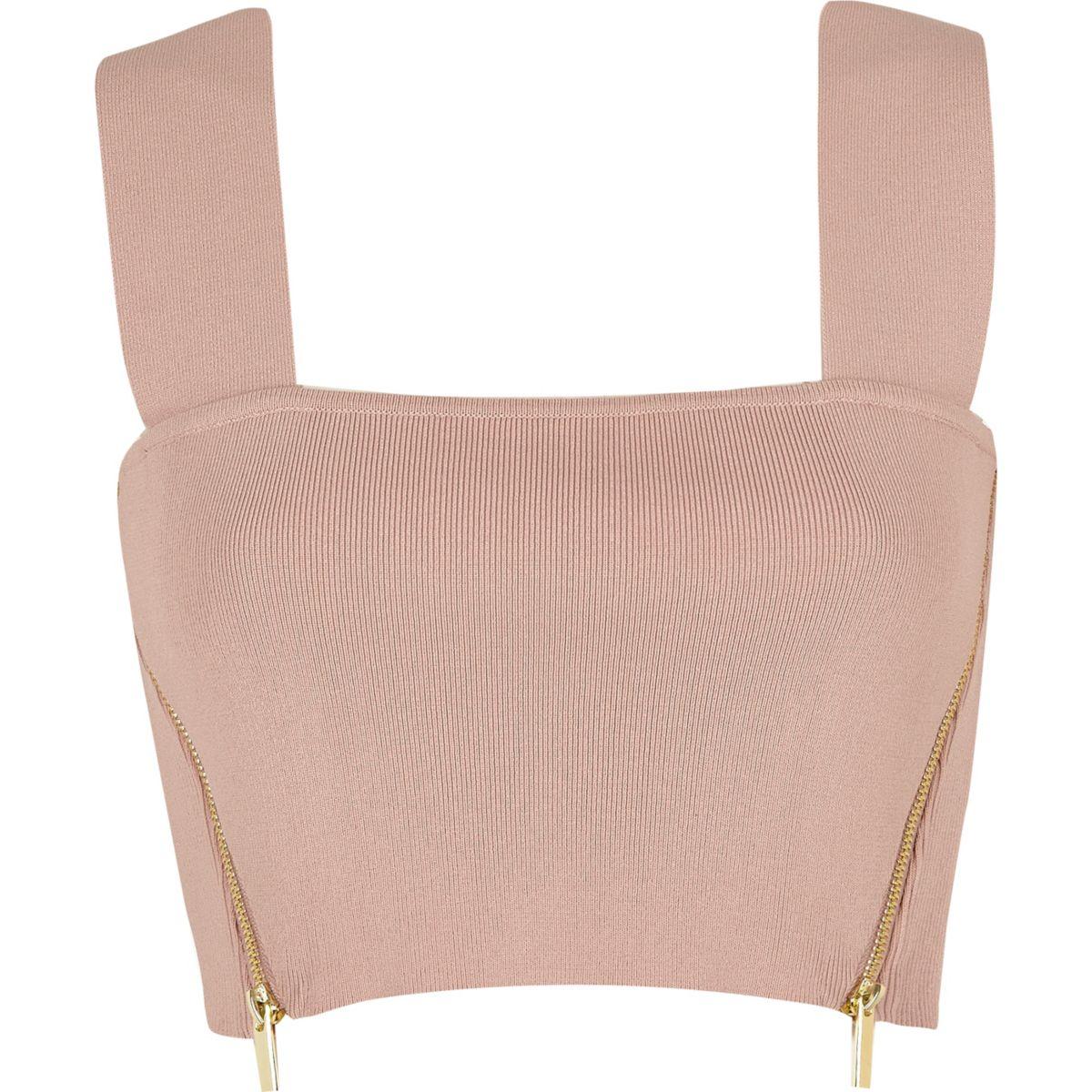 Light pink side zip crop top
