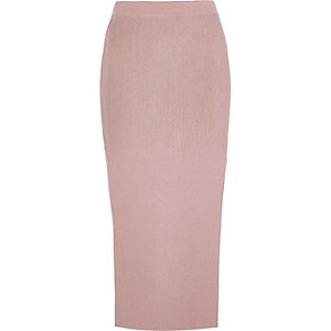 Light pink side split midi skirt