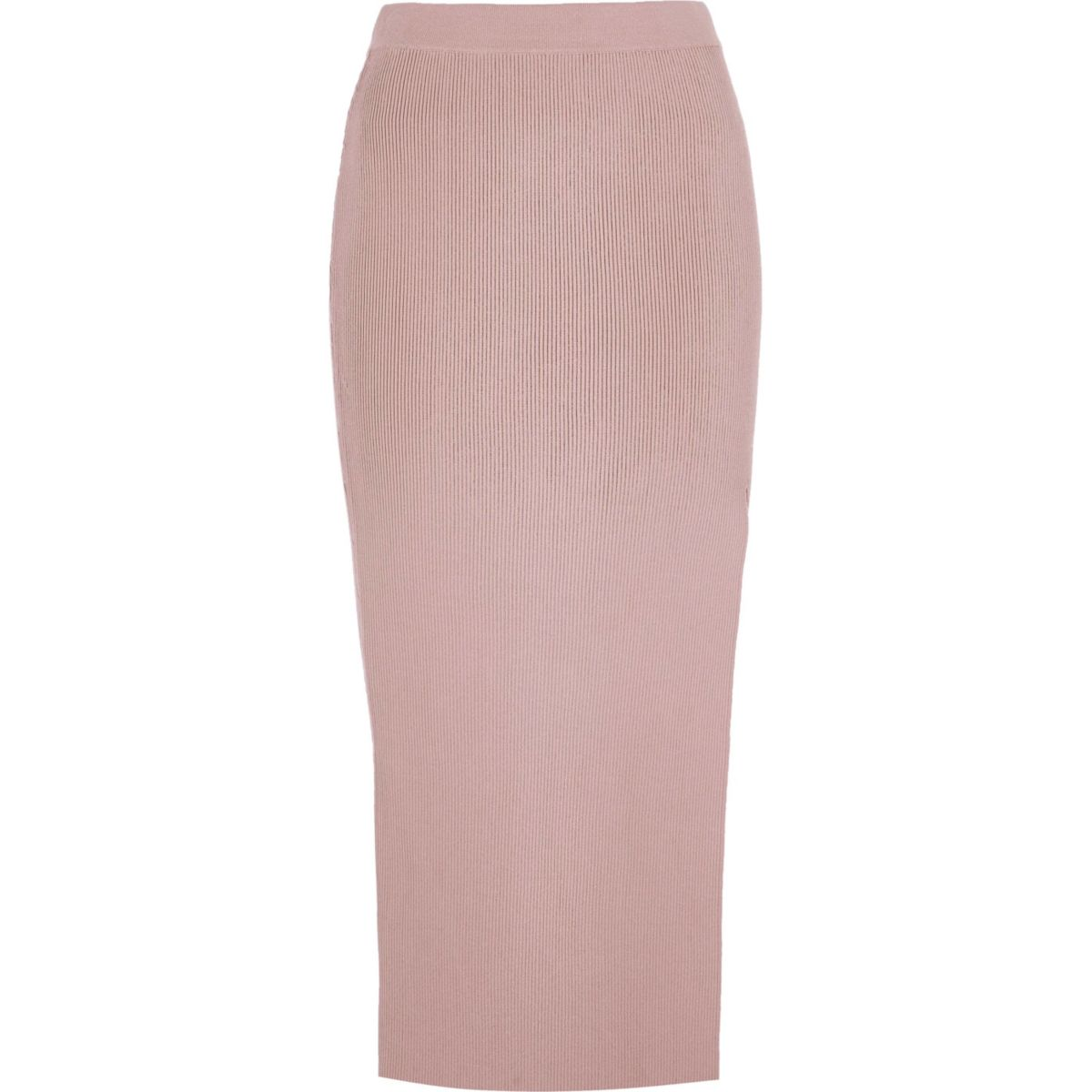 Light pink side split midi skirt